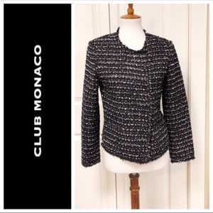 Club Monaco Black Tweed Style Jacket Size 8